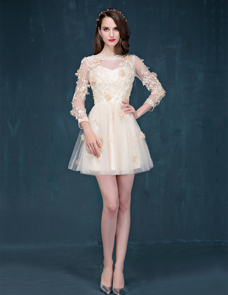 23ee8fd898 Champagne Sleeve Short Prom Dress Lace Cocktail Dress Tulle Homecoming  Party Dress Wedding Guest Dress